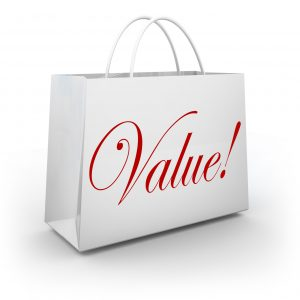 The word Value on a shopping bag to illustrate special savings or getting your money's worth on goods or merchandise at a store sale