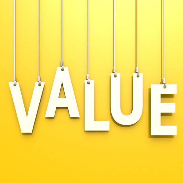 Value word in yellow background