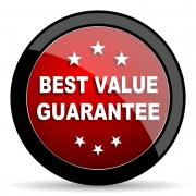 best value guarantee red circle glossy web icon on white background - set440